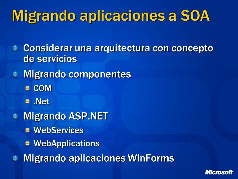 Migrando aplicaciones a SOA Considerar una arquitectura con concepto de servicios Migrando componentes COM.Net Migrando ASP.NET WebServicesWebApplicat