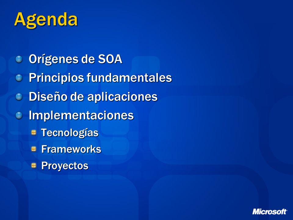 Agenda Orígenes de SOA Principios fundamentales Diseño de aplicaciones ImplementacionesTecnologíasFrameworksProyectos
