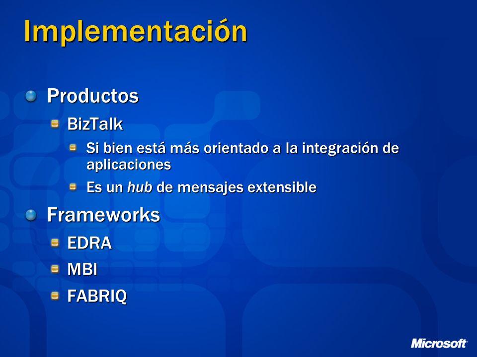Implementación ProductosBizTalk Si bien está más orientado a la integración de aplicaciones Es un hub de mensajes extensible FrameworksEDRAMBIFABRIQ