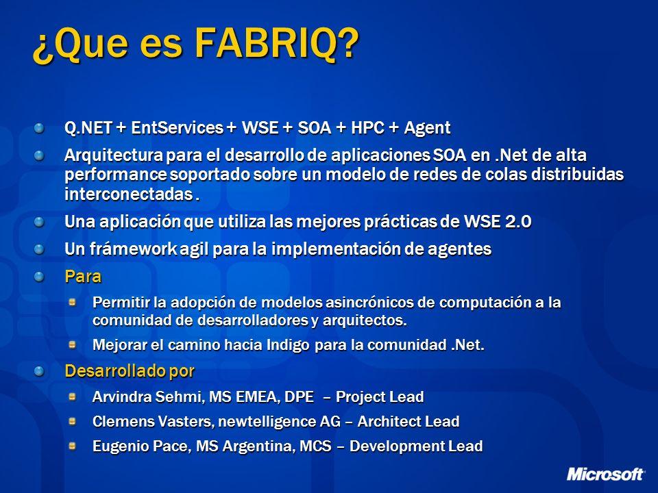 ¿Que es FABRIQ? Q.NET + EntServices + WSE + SOA + HPC + Agent Arquitectura para el desarrollo de aplicaciones SOA en.Net de alta performance soportado