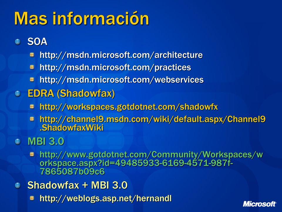 Mas información SOAhttp://msdn.microsoft.com/architecturehttp://msdn.microsoft.com/practiceshttp://msdn.microsoft.com/webservices EDRA (Shadowfax) htt