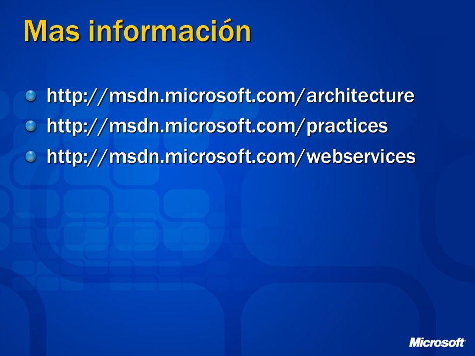 Mas información http://msdn.microsoft.com/architecturehttp://msdn.microsoft.com/practiceshttp://msdn.microsoft.com/webservices