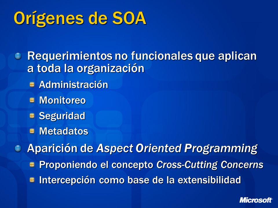 Orígenes de SOA Requerimientos no funcionales que aplican a toda la organización AdministraciónMonitoreoSeguridadMetadatos Aparición de Aspect Oriente