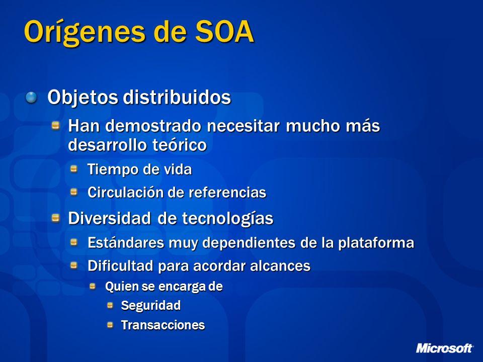 Orígenes de SOA Objetos distribuidos Han demostrado necesitar mucho más desarrollo teórico Tiempo de vida Circulación de referencias Diversidad de tec