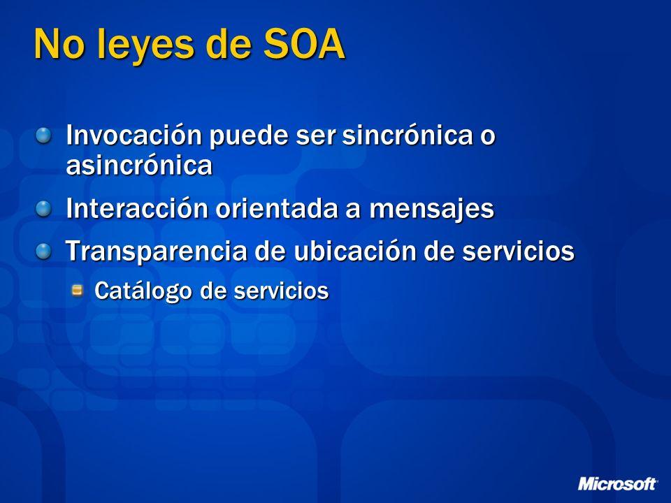 No leyes de SOA Invocación puede ser sincrónica o asincrónica Interacción orientada a mensajes Transparencia de ubicación de servicios Catálogo de ser
