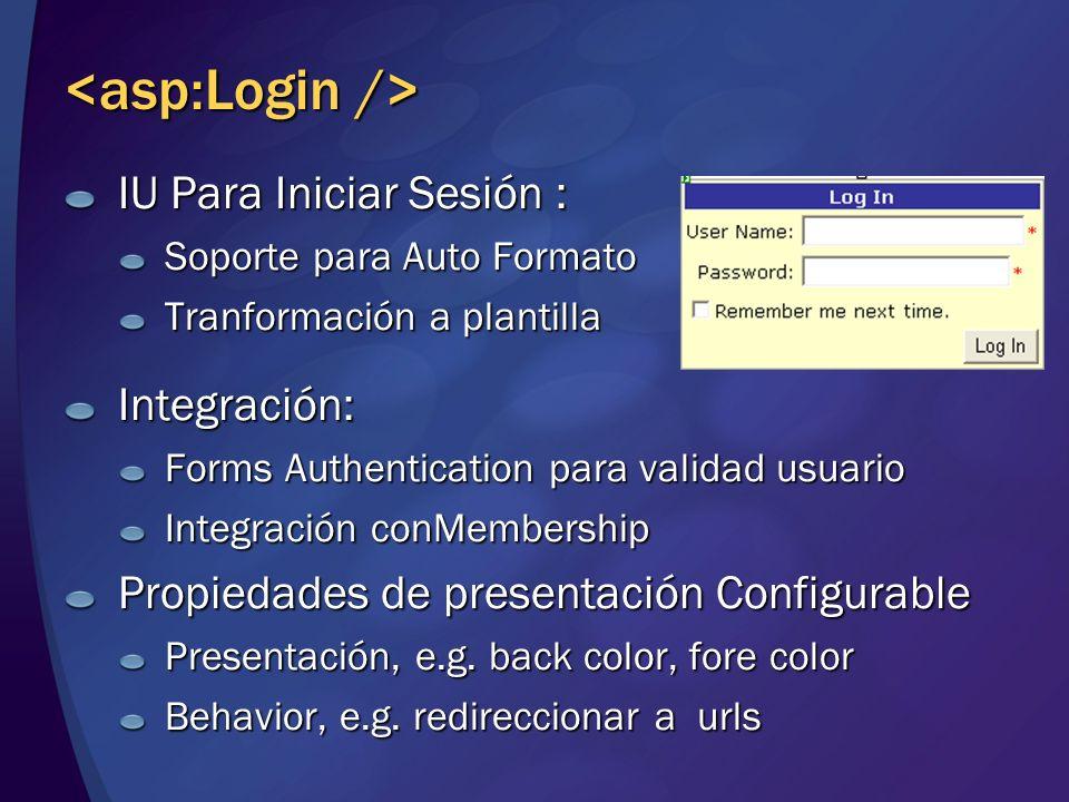 IU Para Iniciar Sesión : Soporte para Auto Formato Tranformación a plantilla Integración: Forms Authentication para validad usuario Integración conMem