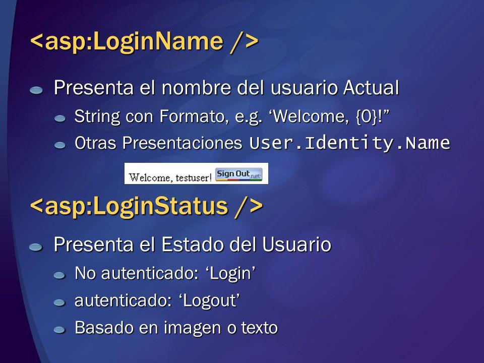 Presenta el nombre del usuario Actual String con Formato, e.g. Welcome, {0}! Otras Presentaciones User.Identity.Name Presenta el Estado del Usuario No