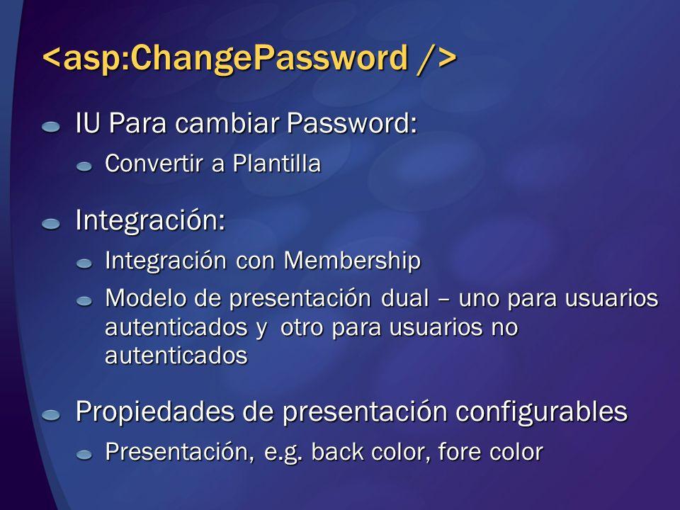 IU Para cambiar Password: Convertir a Plantilla Integración: Integración con Membership Modelo de presentación dual – uno para usuarios autenticados y