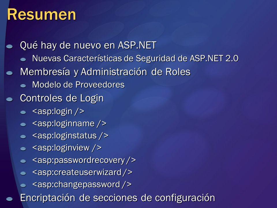 Resumen Qué hay de nuevo en ASP.NET Nuevas Características de Seguridad de ASP.NET 2.0 Membresía y Administración de Roles Modelo de Proveedores Contr