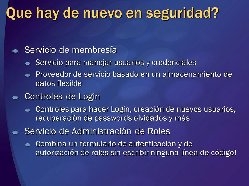 Que hay de nuevo en seguridad? Servicio de membresía Servicio para manejar usuarios y credenciales Proveedor de servicio basado en un almacenamiento d