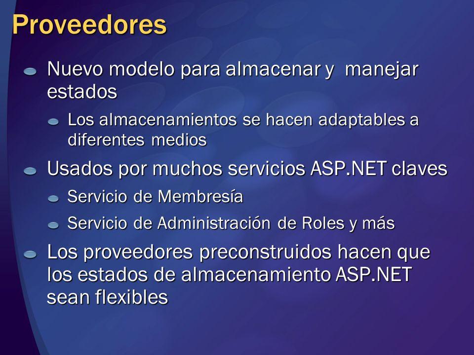 Proveedores Nuevo modelo para almacenar y manejar estados Los almacenamientos se hacen adaptables a diferentes medios Usados por muchos servicios ASP.