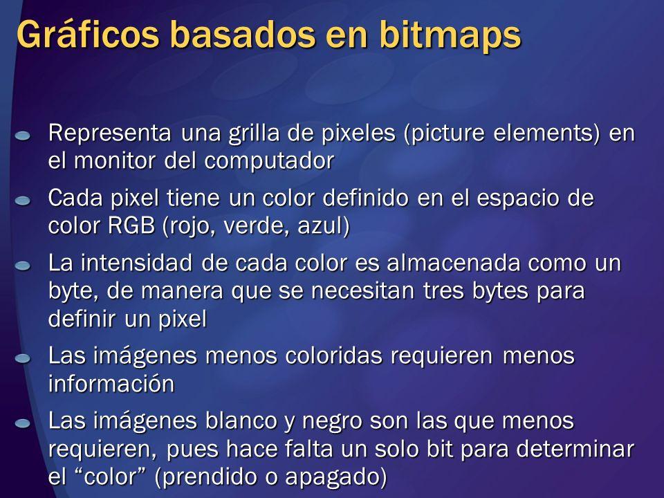 Gráficos basados en bitmaps Representa una grilla de pixeles (picture elements) en el monitor del computador Cada pixel tiene un color definido en el
