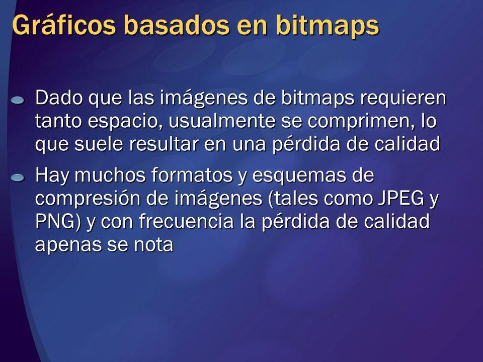 Gráficos basados en bitmaps Dado que las imágenes de bitmaps requieren tanto espacio, usualmente se comprimen, lo que suele resultar en una pérdida de