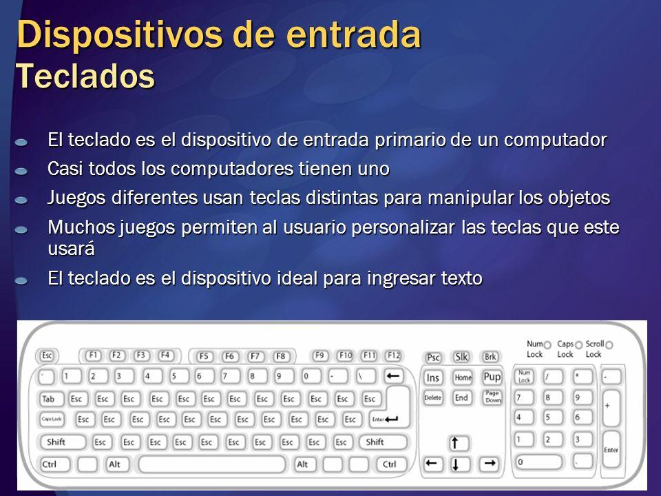 Dispositivos de entrada Teclados El teclado es el dispositivo de entrada primario de un computador Casi todos los computadores tienen uno Juegos difer