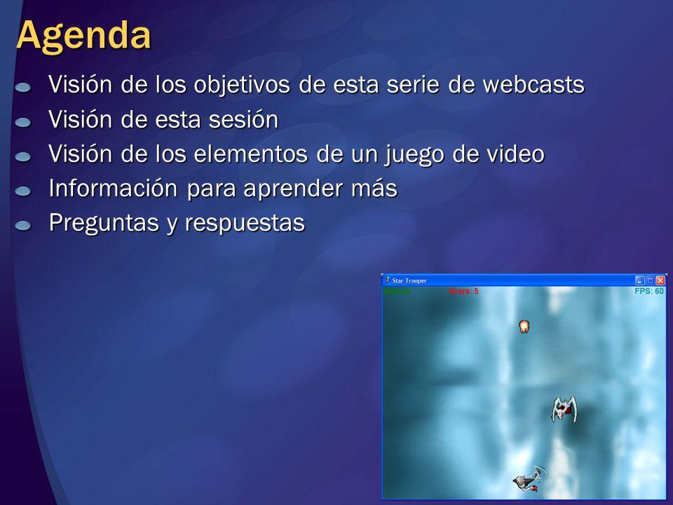 Agenda Visión de los objetivos de esta serie de webcasts Visión de esta sesión Visión de los elementos de un juego de video Información para aprender