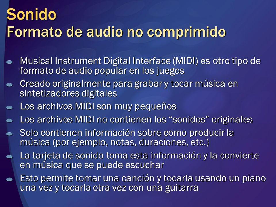 Sonido Formato de audio no comprimido Musical Instrument Digital Interface (MIDI) es otro tipo de formato de audio popular en los juegos Creado origin