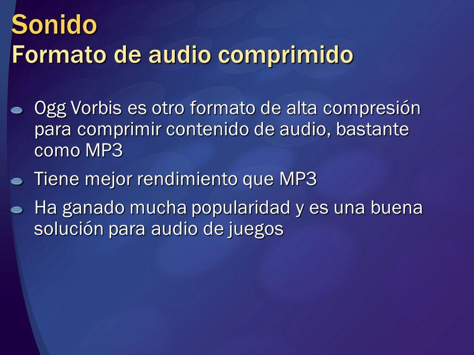 Sonido Formato de audio comprimido Ogg Vorbis es otro formato de alta compresión para comprimir contenido de audio, bastante como MP3 Tiene mejor rend