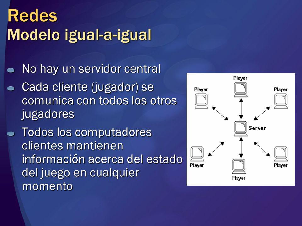 Redes Modelo igual-a-igual No hay un servidor central Cada cliente (jugador) se comunica con todos los otros jugadores Todos los computadores clientes