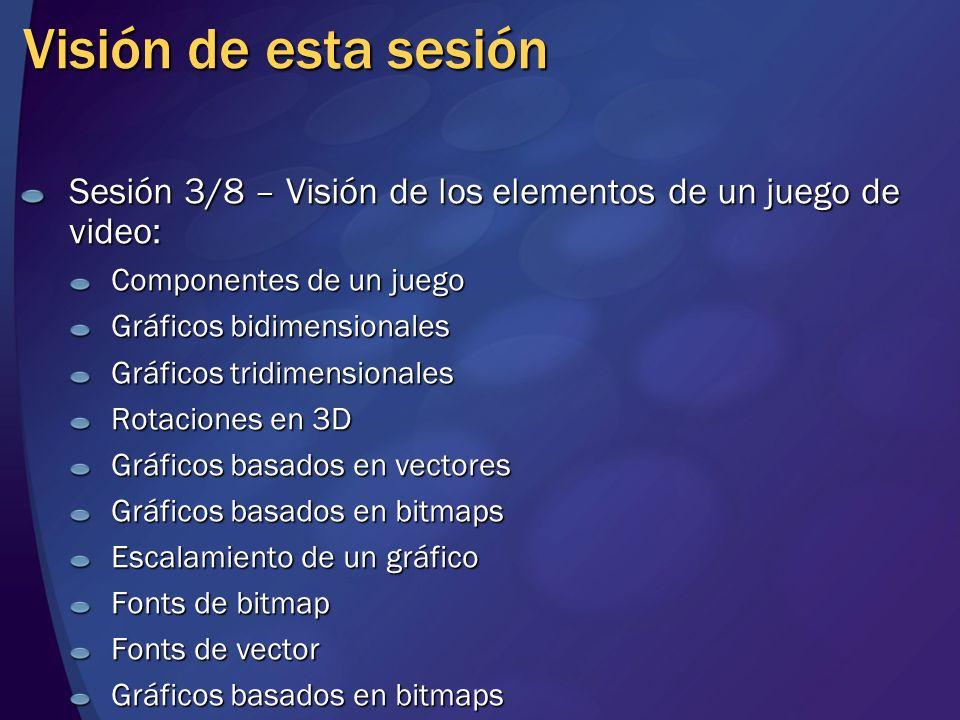 Visión de esta sesión (cont.) Sesión 3/8 – Visión de los elementos de un juego de video (continuación): Dispositivos de entrada TecladosRatón Joystick y gamepad Sonido Formato de audio no comprimido Formato de audio comprimido Audio 3D Audio para juegos interactivos Red Problemas multijugador Modelo cliente/servidor Modelo igual-a-igual (peer-to-peer)