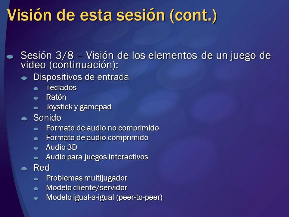 Visión de esta sesión (cont.) Sesión 3/8 – Visión de los elementos de un juego de video (continuación): Dispositivos de entrada TecladosRatón Joystick