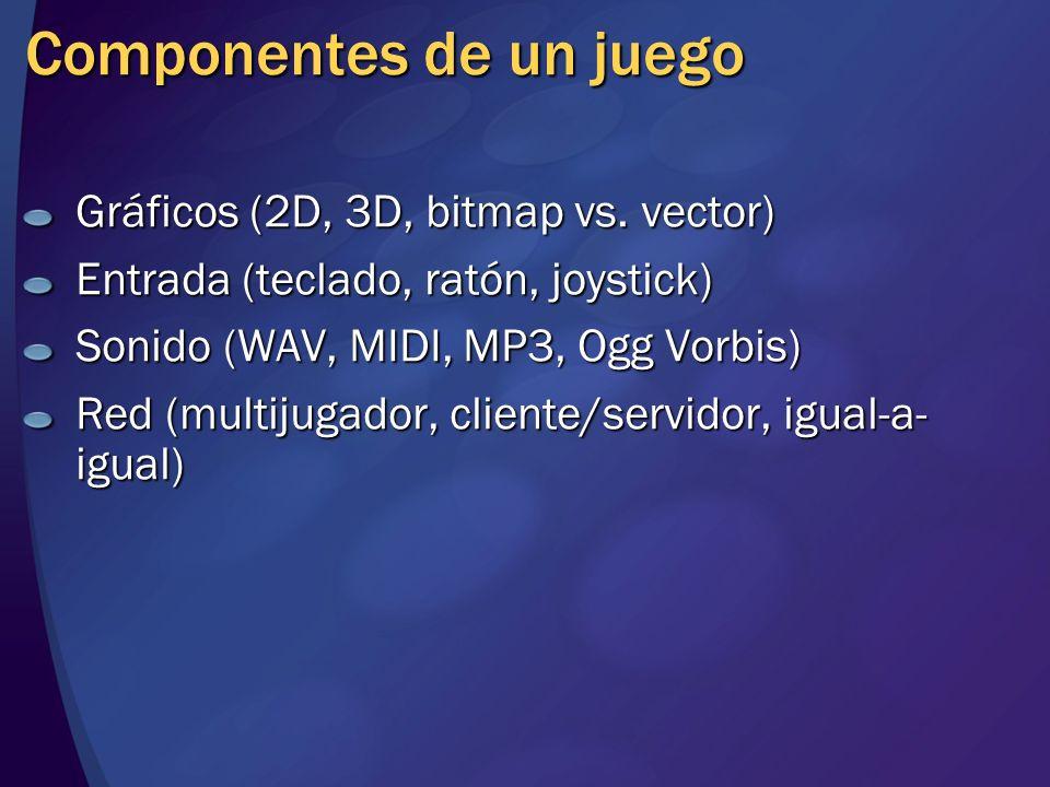 Componentes de un juego Gráficos (2D, 3D, bitmap vs. vector) Entrada (teclado, ratón, joystick) Sonido (WAV, MIDI, MP3, Ogg Vorbis) Red (multijugador,