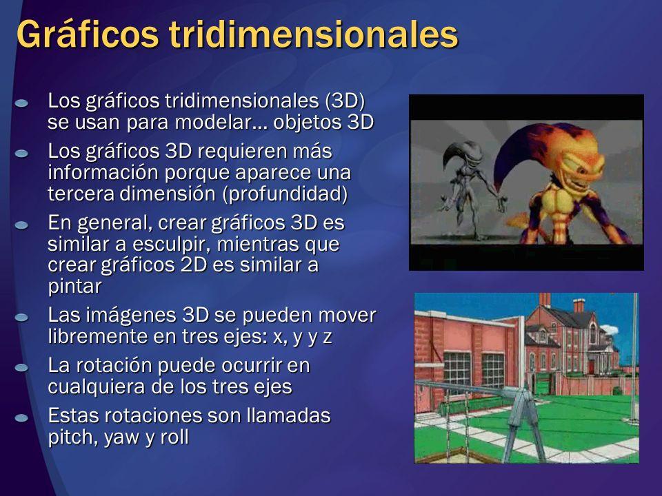 Gráficos tridimensionales Los gráficos tridimensionales (3D) se usan para modelar… objetos 3D Los gráficos 3D requieren más información porque aparece