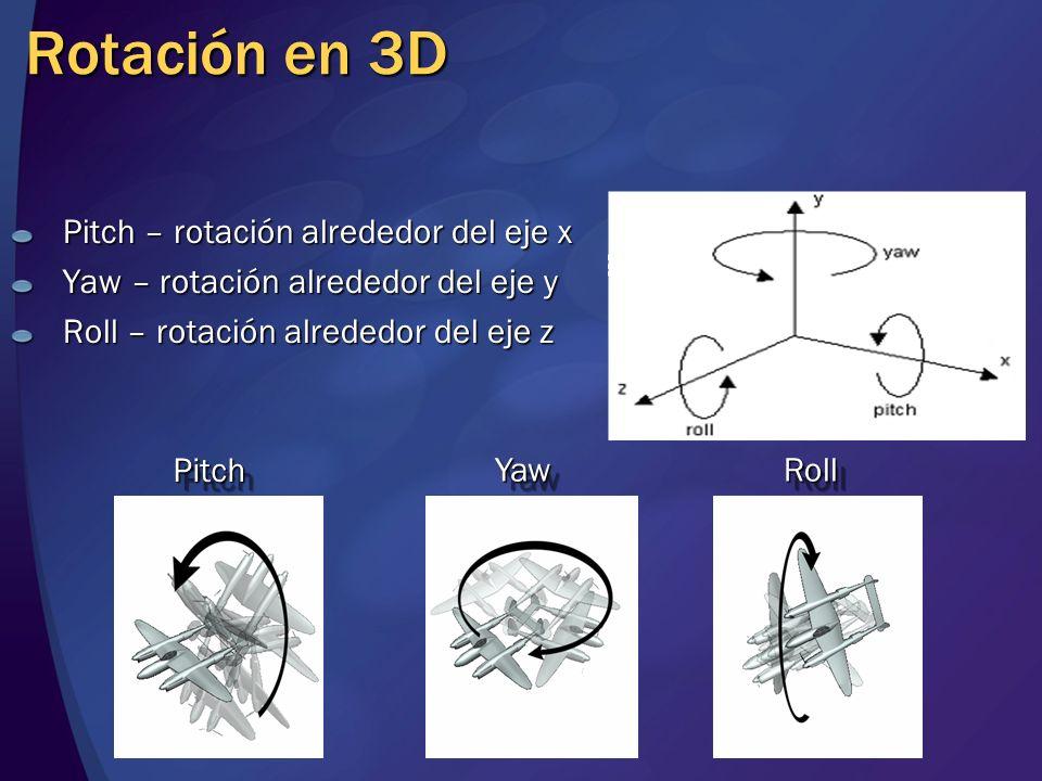 Rotación en 3D Pitch – rotación alrededor del eje x Yaw – rotación alrededor del eje y Roll – rotación alrededor del eje z YawYaw PitchPitch RollRoll