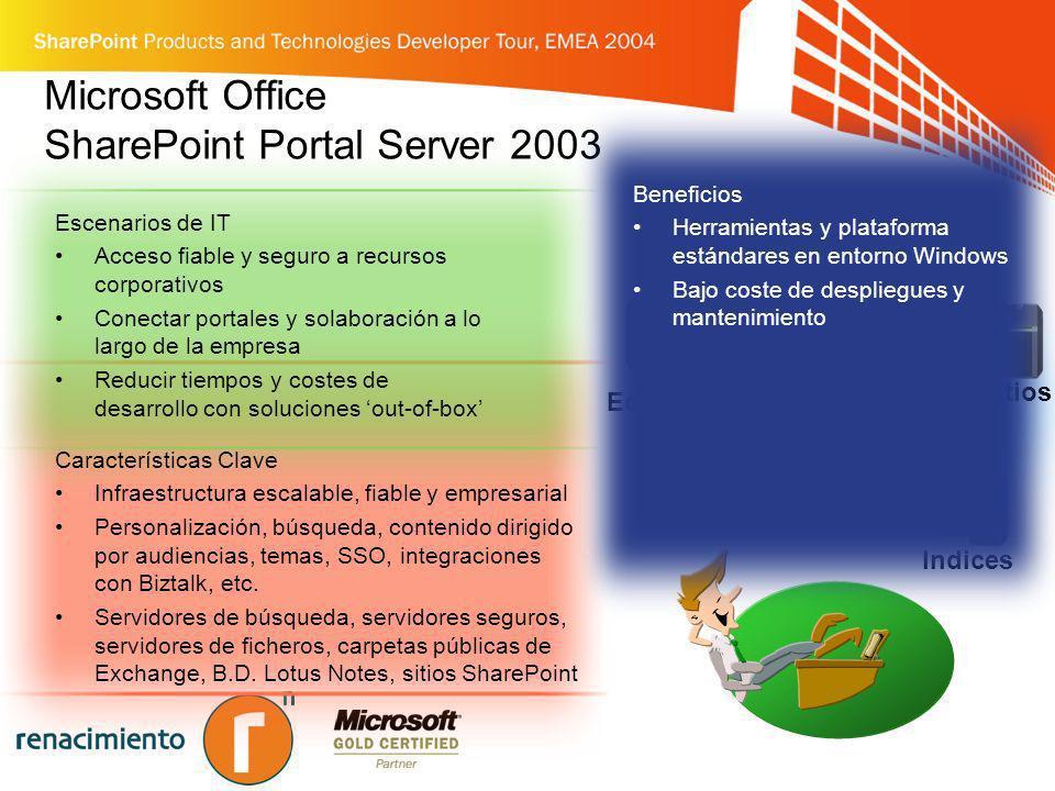 Microsoft Office SharePoint Portal Server 2003 Escenarios de IT Acceso fiable y seguro a recursos corporativos Conectar portales y solaboración a lo l