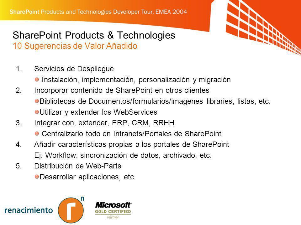 SharePoint Products & Technologies 10 Sugerencias de Valor Añadido 1.Servicios de Despliegue Instalación, implementación, personalización y migración