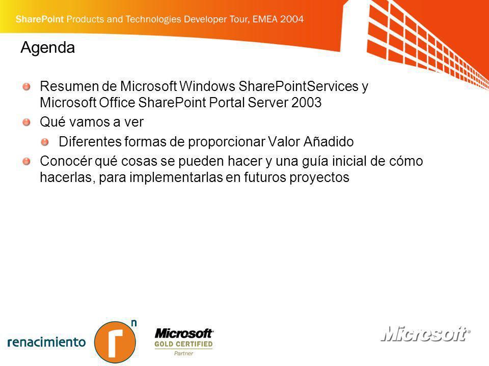 Agenda Resumen de Microsoft Windows SharePointServices y Microsoft Office SharePoint Portal Server 2003 Qué vamos a ver Diferentes formas de proporcio