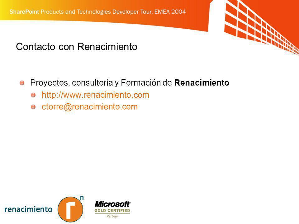 Contacto con Renacimiento Proyectos, consultoría y Formación de Renacimiento http://www.renacimiento.com ctorre@renacimiento.com