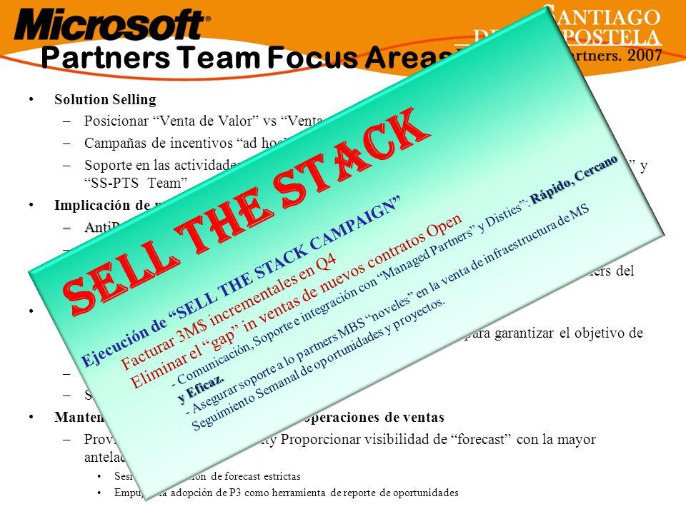 Solution Selling –Posicionar Venta de Valor vs Venta de Licencias entre la comunidad de partners –Campañas de incentivos ad hoc –Soporte en las activi