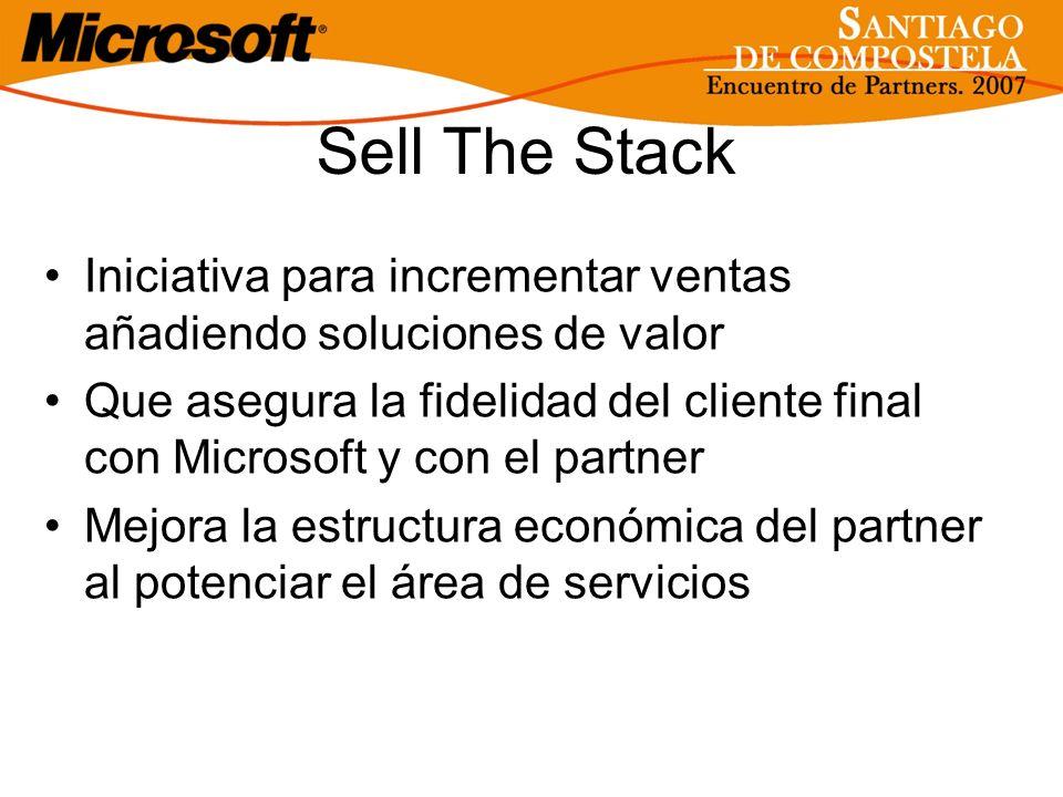 Sell The Stack Iniciativa para incrementar ventas añadiendo soluciones de valor Que asegura la fidelidad del cliente final con Microsoft y con el part