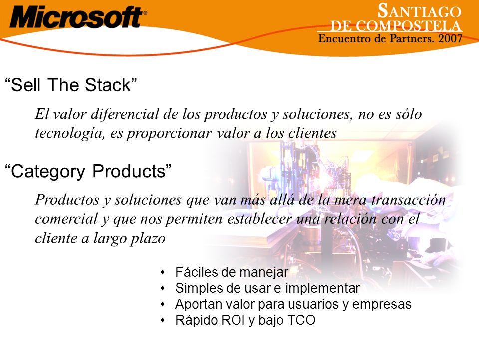 Sell The Stack Fáciles de manejar Simples de usar e implementar Aportan valor para usuarios y empresas Rápido ROI y bajo TCO El valor diferencial de l