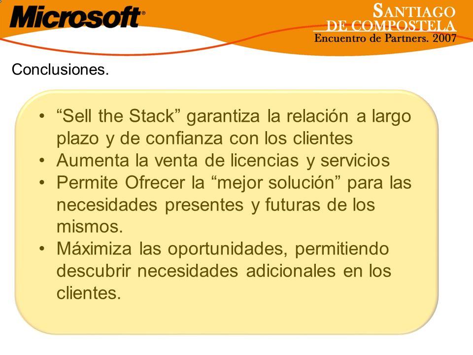 Conclusiones. Sell the Stack garantiza la relación a largo plazo y de confianza con los clientes Aumenta la venta de licencias y servicios Permite Ofr