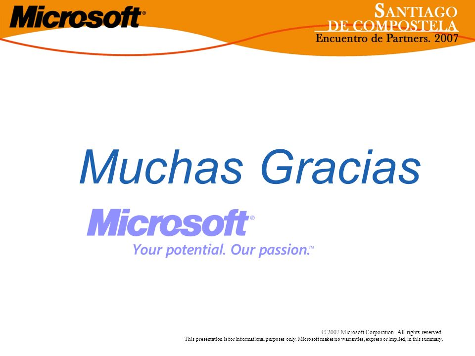 © 2007 Microsoft Corporation. All rights reserved. This presentation is for informational purposes only. Microsoft makes no warranties, express or imp