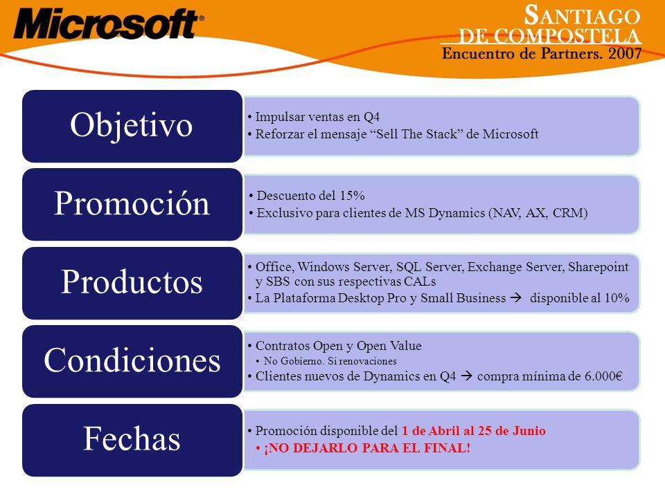 Impulsar ventas en Q4 Reforzar el mensaje Sell The Stack de Microsoft Objetivo Descuento del 15% Exclusivo para clientes de MS Dynamics (NAV, AX, CRM)
