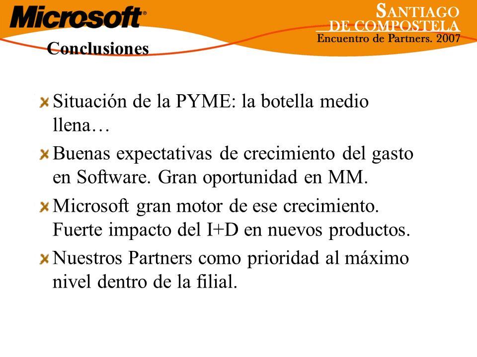 Conclusiones Situación de la PYME: la botella medio llena… Buenas expectativas de crecimiento del gasto en Software. Gran oportunidad en MM. Microsoft