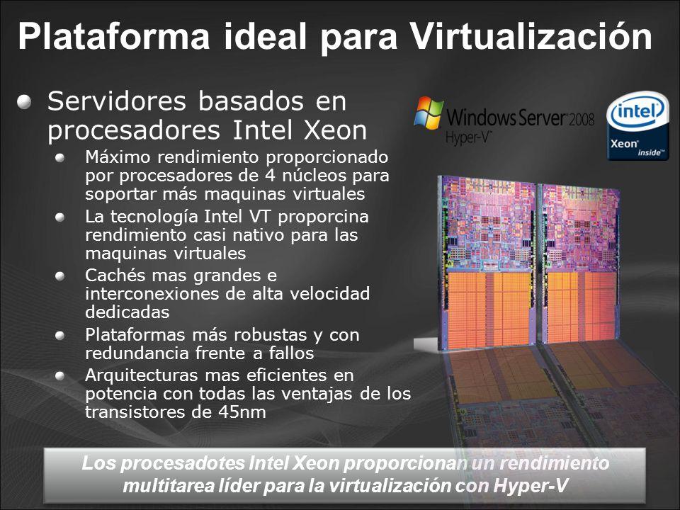 Plataforma ideal para Virtualización Servidores basados en procesadores Intel Xeon Máximo rendimiento proporcionado por procesadores de 4 núcleos para