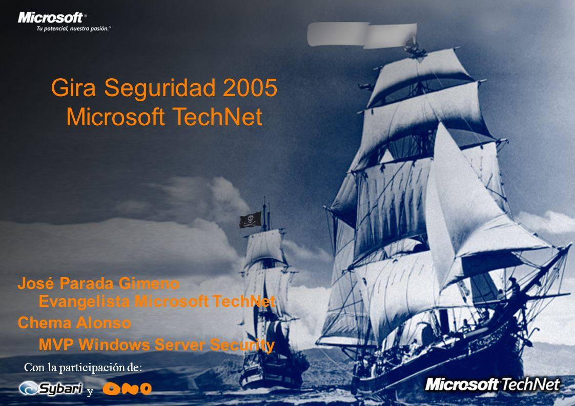 Gira Seguridad 2005 Microsoft TechNet Con la participación de: y José Parada Gimeno Evangelista Microsoft TechNet Chema Alonso MVP Windows Server Security