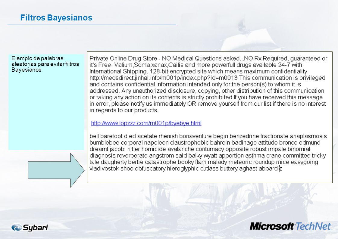 Filtros Bayesianos 1.Sistema de aprendizaje basado en análisis estadísticos de vocabulario Listas de palabras buenas y malas 2.Necesita intervención d