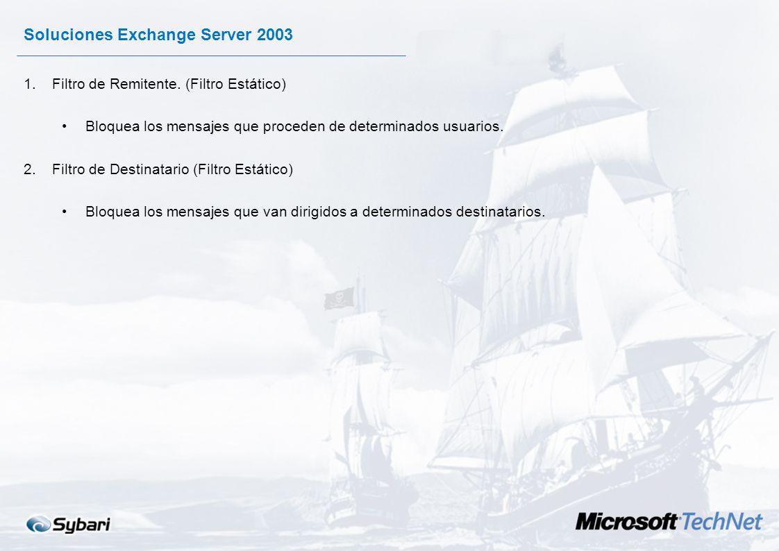 Soluciones Exchange Server 2003 1.Opciones para detener el correo Spam recibido: Filtro de Remitente. Filtro de Destinatario. Nuevo. Listas Autenticad