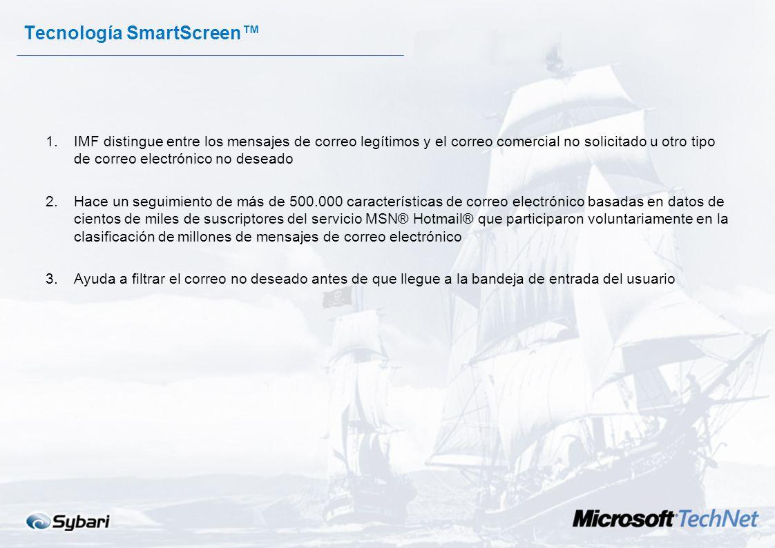 Dos Motores 1.Microsoft IMF Utiliza la tecnología SmartScreen Conjunto detallado de reglas que son comparadas con el correo entrante 2.Sybari/Antigen