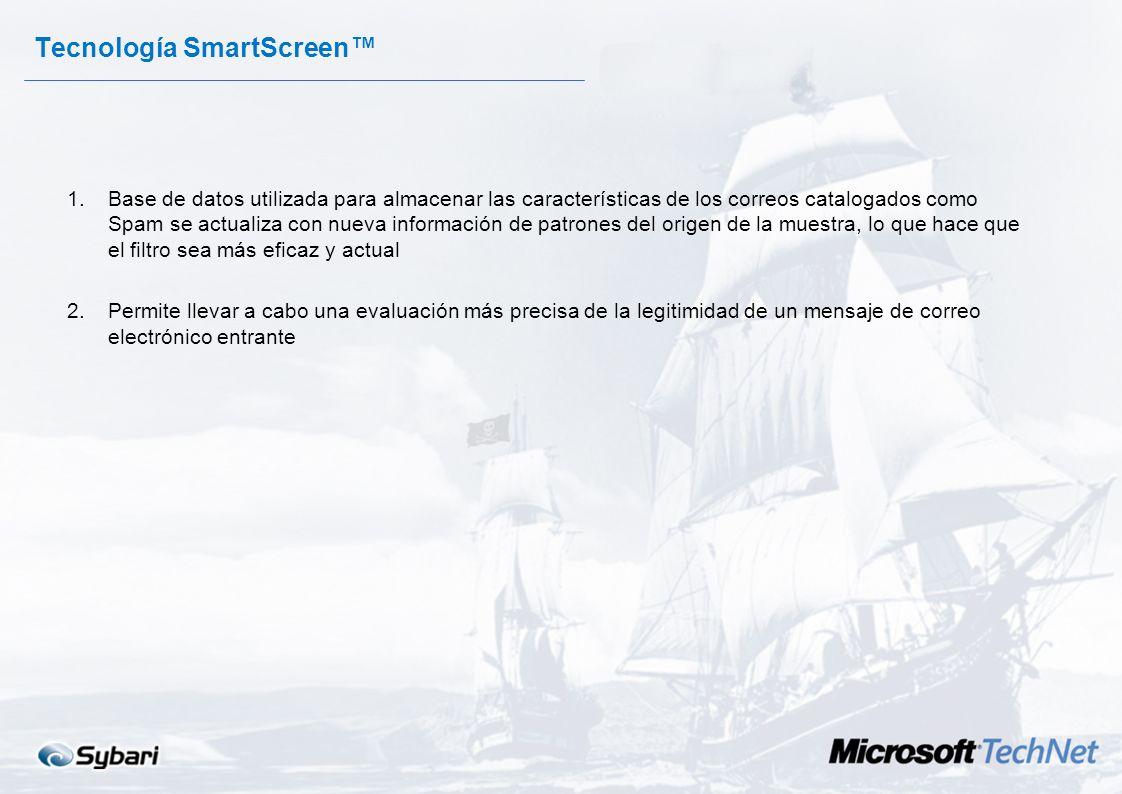 Tecnología SmartScreen 1.IMF distingue entre los mensajes de correo legítimos y el correo comercial no solicitado u otro tipo de correo electrónico no