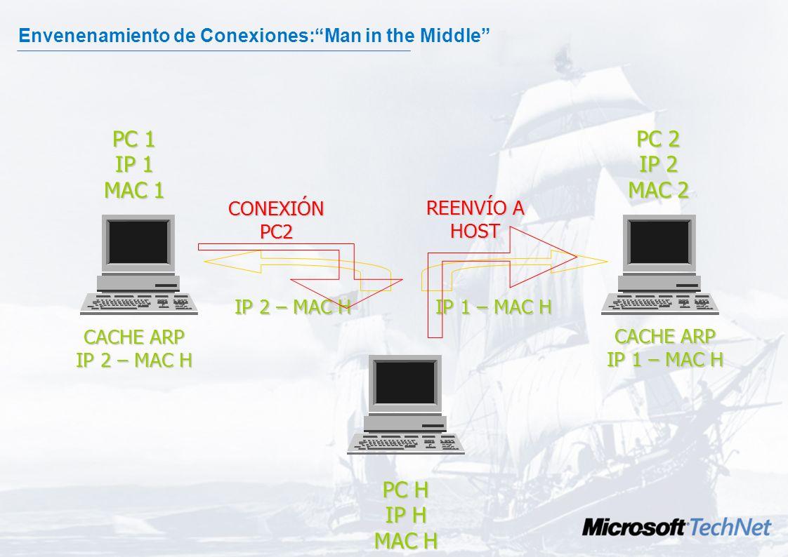 Envenenamiento de Conexiones: Man in the Middle La técnica consiste en interponerse entre dos sistemas. Para lograr el objetivo se utiliza el protocol