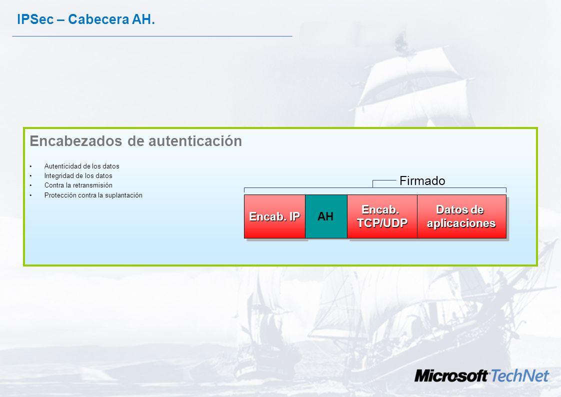Cabecera de Autenticación Authentication Header (AH) ofrece: –Autenticacion. –Integridad. Funcionalidades –Kerberos, certificados o los secretos compa