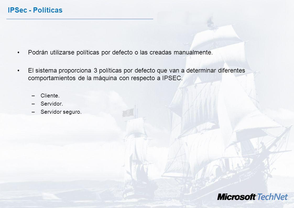 IPSec en Windows 2000- 2003 Se configura mediante políticas –Almacenadas en el Directorio Activo o en en Registro Local del Servidor. –Controlan la en