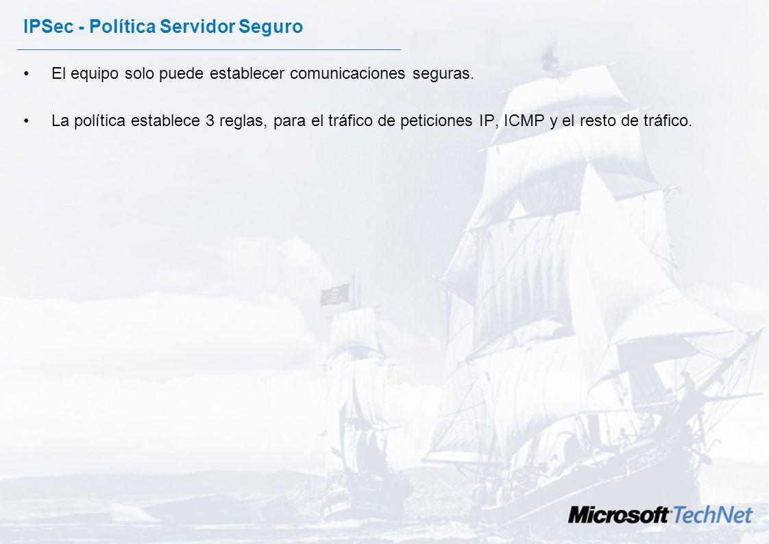 IPSec - Política de servidor. Intenta establecer comunicaciones cifradas, pero si la otra máquina no tiene configurado IPSEC la comunicación se establ