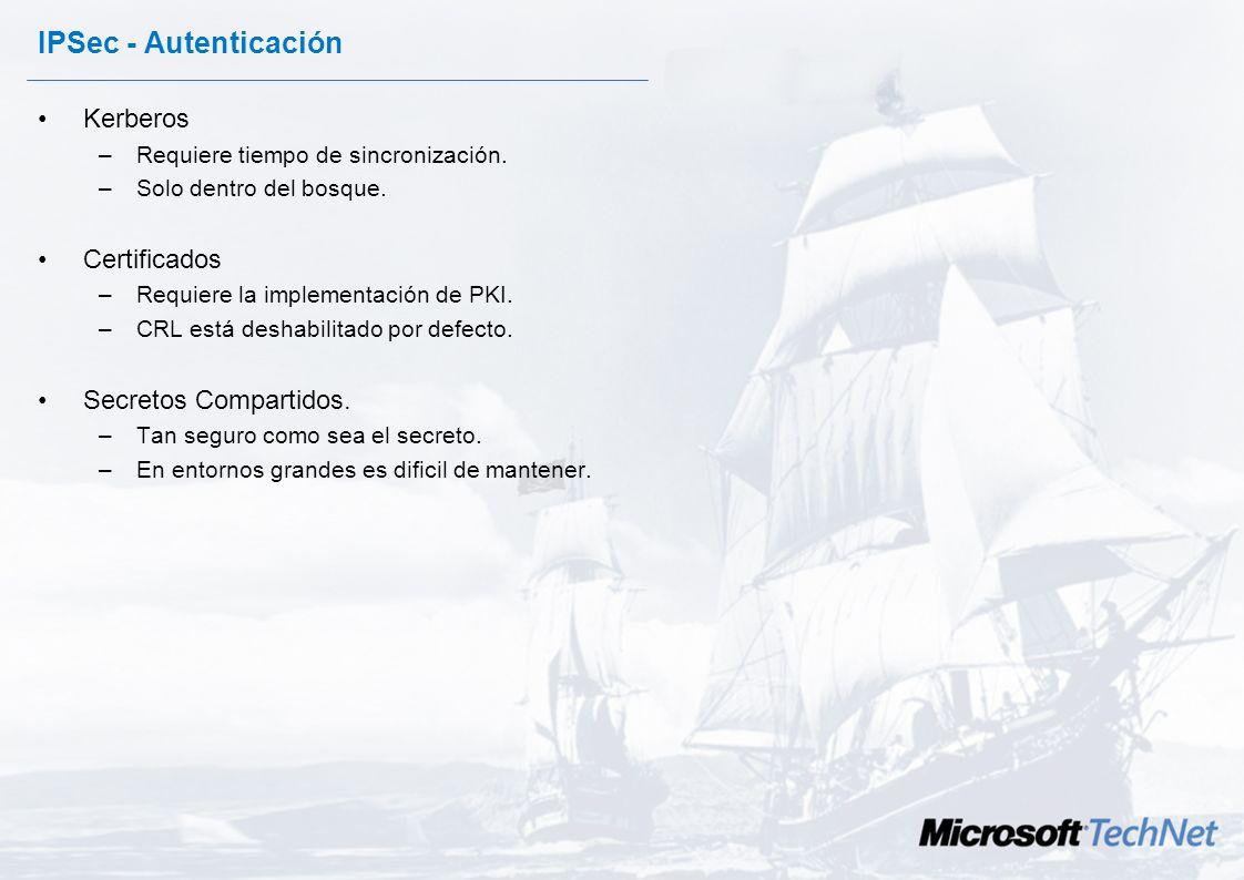 IPSec - Filtros En la configuración de los filtros hay que especificar los siguientes parámetros: –Determinar la posibilidad o no de establecer un tún
