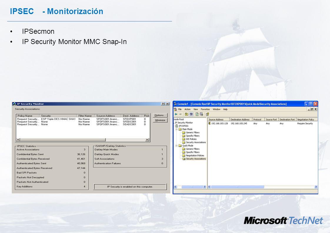 IPSec – Excepciones. IPSec en Windows 2000 no securiza por defecto el siguiente tráfico : –Broadcast –Multicast –RSVP –IKE –Kerberos Windows 2003 por